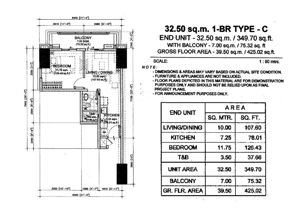 1 BR Type C (39.5sqm)