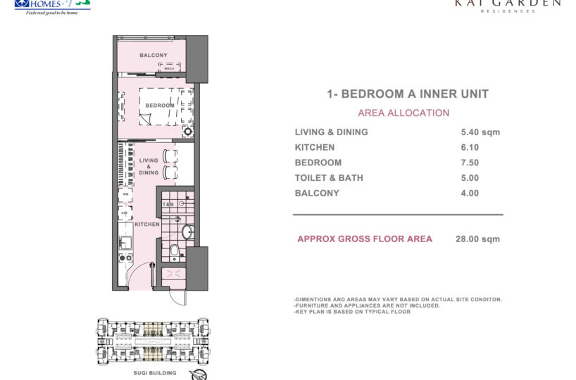 One Bedroom Units at Kai Garden Residences (Type A)
