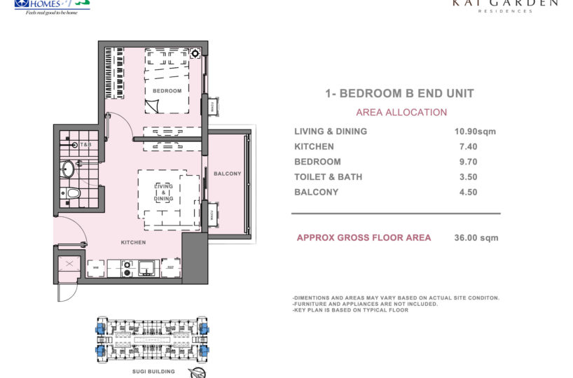 One Bedroom Units at Kai Garden Residences (Type B)